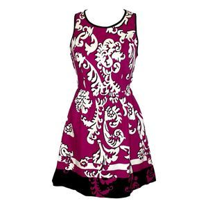 Crown & Ivy Pink and White Damask Dress 4 Small